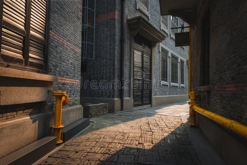French Concession in Shanghai, China. The empty alleyways of Xintiandi in the French Concession area of Shanghai, China stock photography