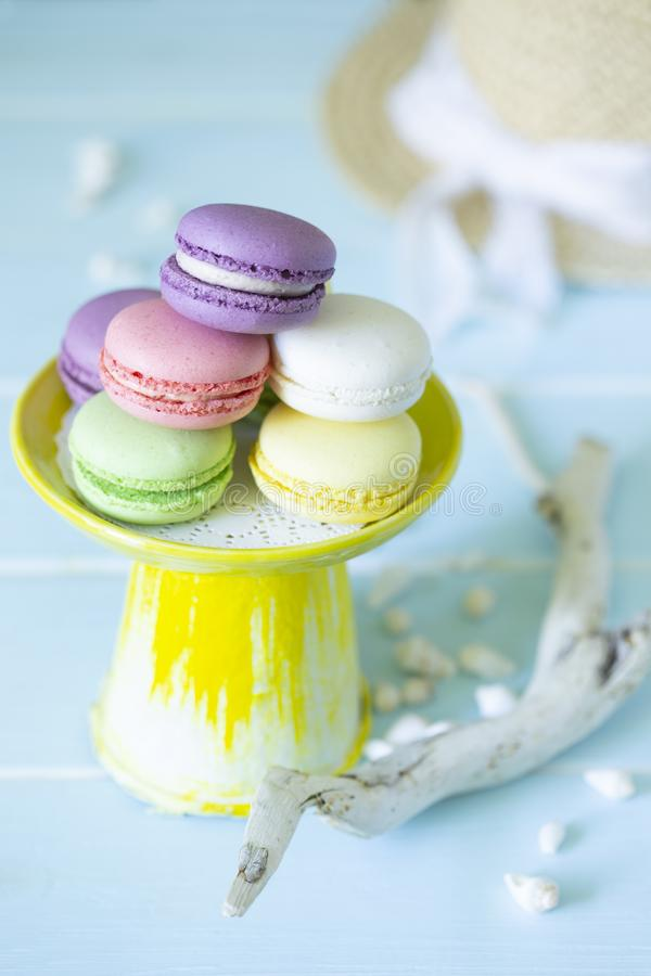 French cookies macaroons on yellow tray in marine decoration of shells and driftwood. royalty free stock photo