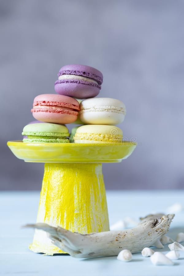 French cookies macaroons on yellow tray in marine decoration of shells and driftwood. royalty free stock images