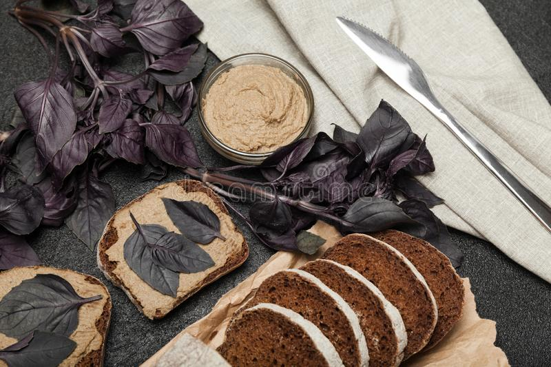 French cooking, chicken liver pate. Delicious appetizing stock photography