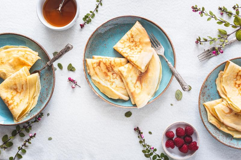 French Crepe for Chandeleur. On wooden background stock photography