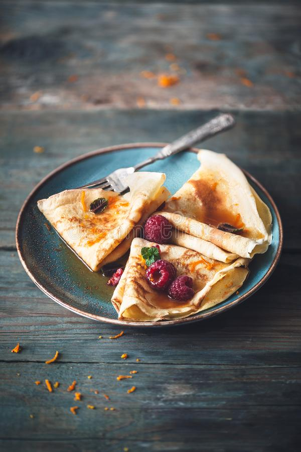 French Crepe Suzette for Chandeleur royalty free stock photos