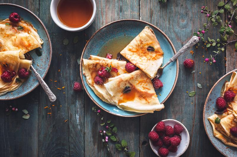 French Crepe Suzette for Chandeleur royalty free stock image