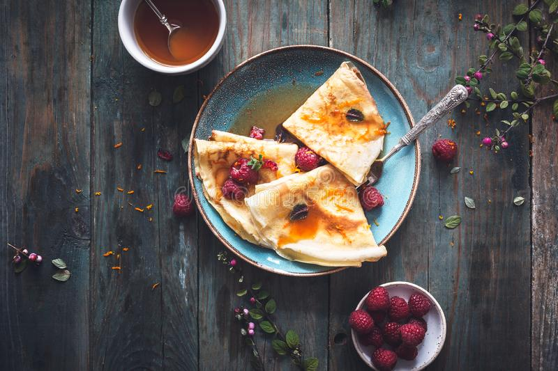 French Crepe Suzette for Chandeleur royalty free stock photo