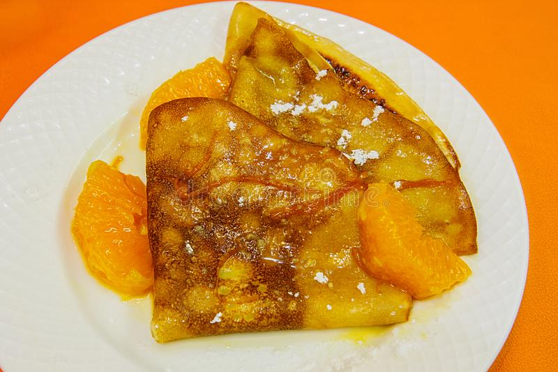 French Crepe suzette royalty free stock photo