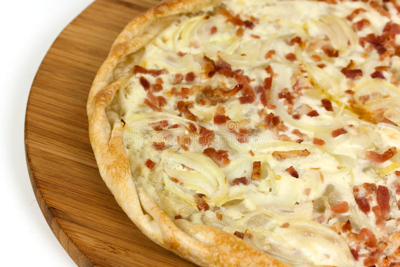 French Crepe - Tarte Flambee,isolated on white. Fresh French Crepe - Tarte Flambee,isolated on white stock images