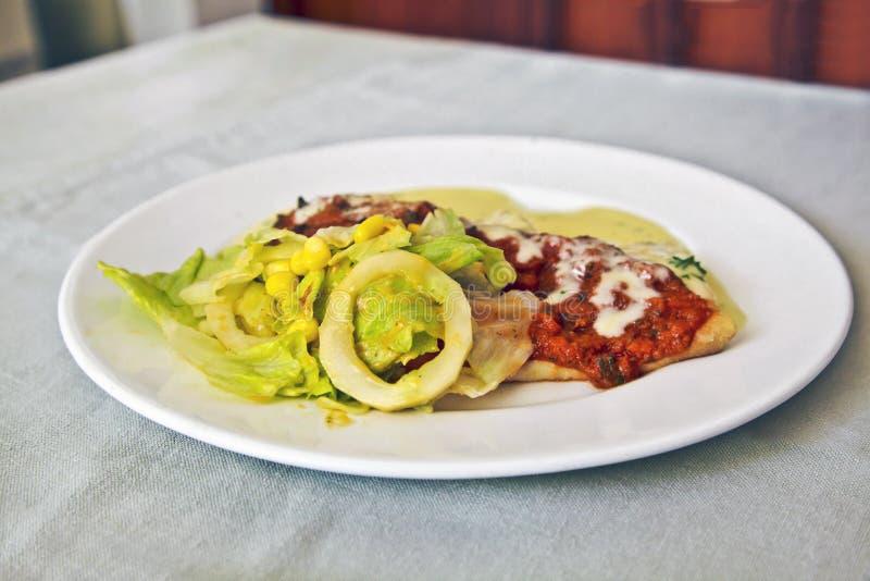 French crepe tossed salad white crockery royalty free stock image