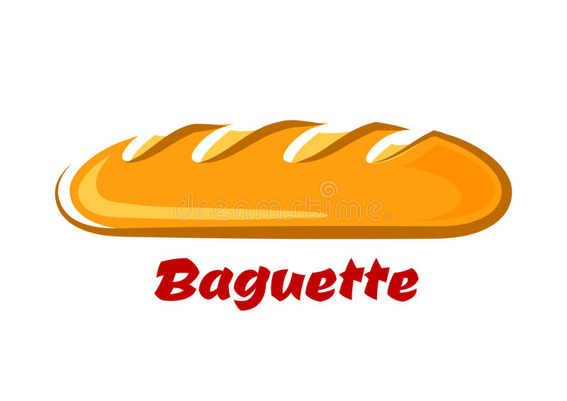 French crispy baguette in cartoon style royalty free illustration