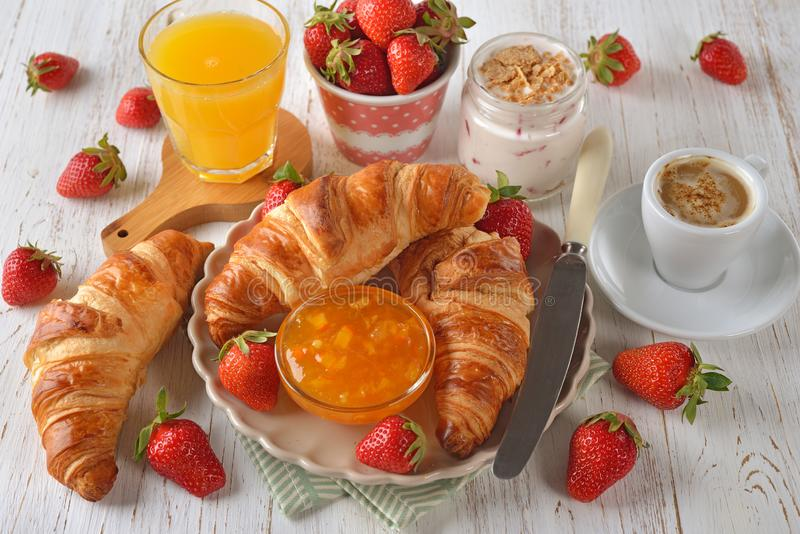 French croissant for breakfast stock photos