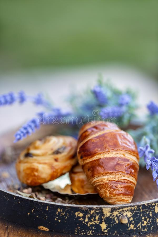 French croissant and bun. Dessert. royalty free stock images