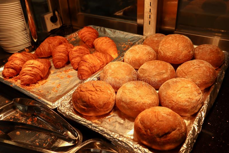 French Croissants and bread in swedish bakery. Pastries, pastry, tasty, yummy, breakfast, good, goodmorning, snack, eat, diet, nutrition, carbs, calorie stock photo