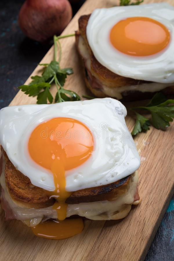 French croque madame sandwich stock images