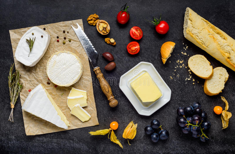 French Cuisine with Brie Cheese and Bread stock images