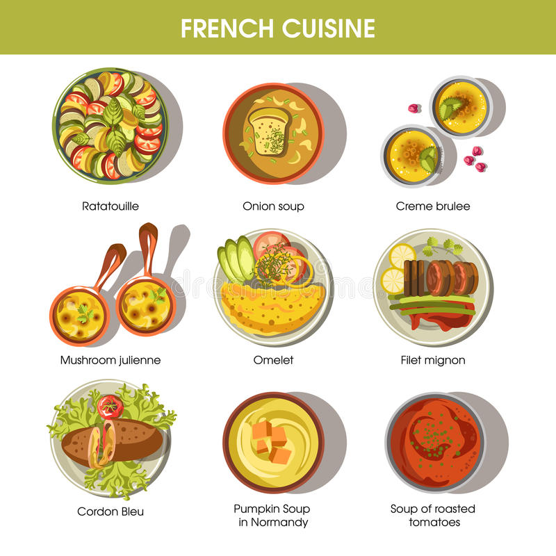 French cuisine food dishes for menu vector templates stock for Authentic french cuisine