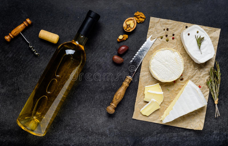 French Cuisine Food with Wine and Cheese royalty free stock photos
