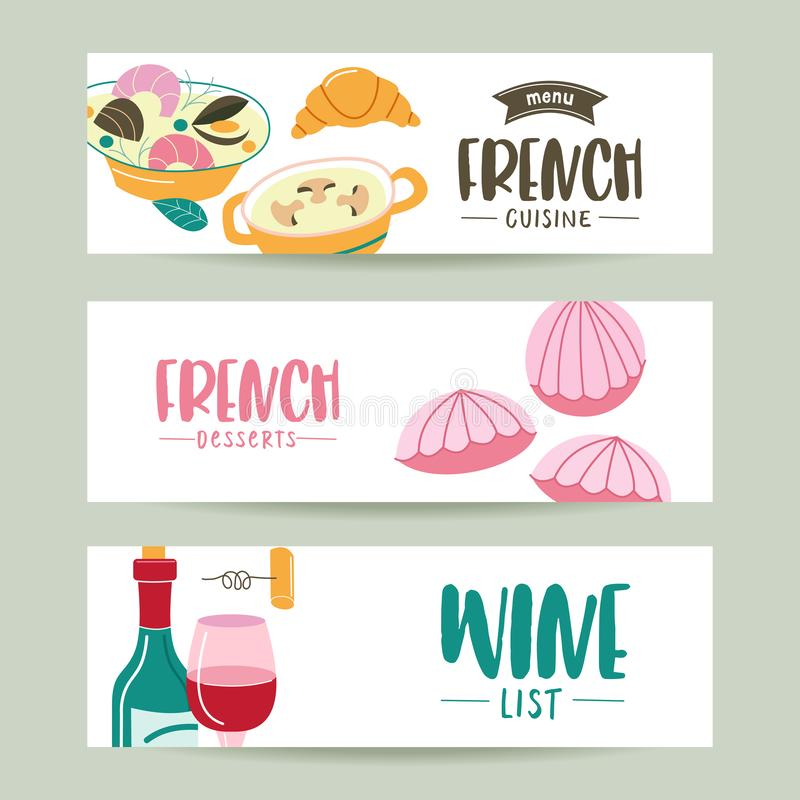French cuisine. A set of French dishes. Banner templates, icons. Traditional French cuisine. Illustration in cartoon style. French cuisine. A set of French vector illustration