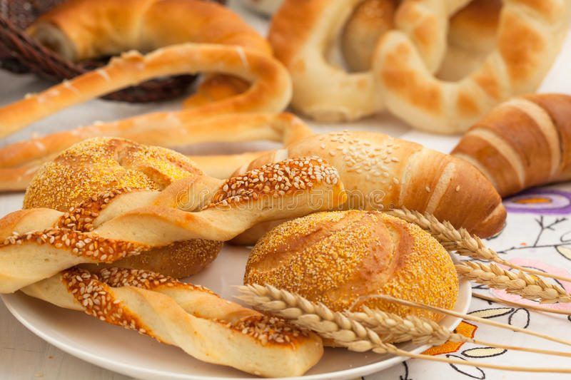 French & Danish pastries. Selection of French & Danish pastries royalty free stock images