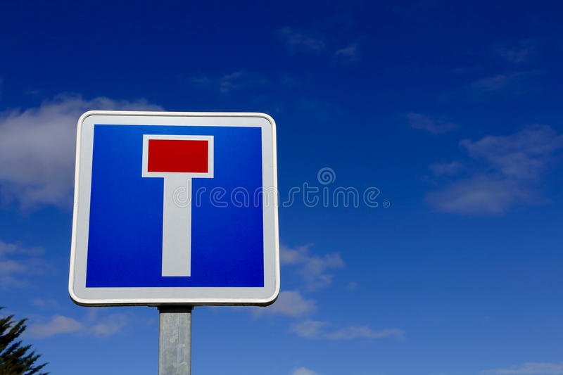 French dead end street road sign. On blue sky stock image