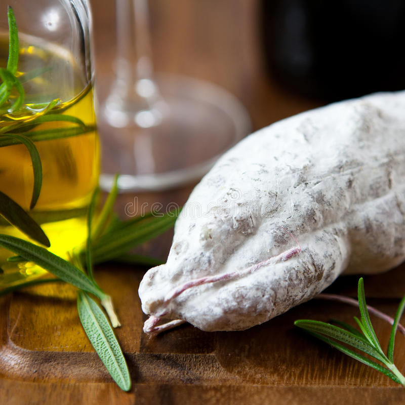Download French dry sausage stock photo. Image of rosemary, french - 11483008