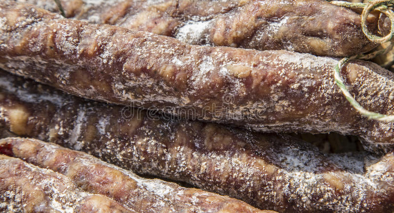 French Dry Sausages royalty free stock image