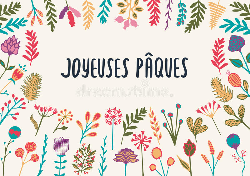 French easter greeting card joyeuses paques with hand drawn stock download french easter greeting card joyeuses paques with hand drawn stock vector illustration of floral m4hsunfo