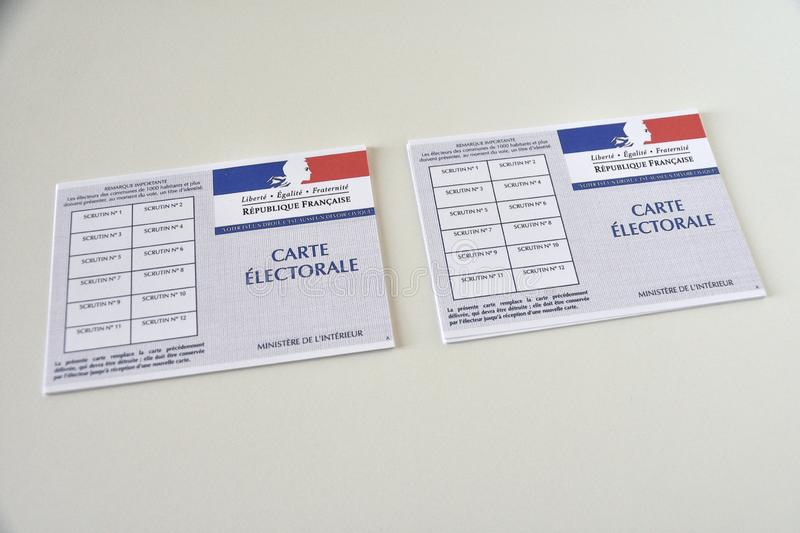 French electoral card. Marseille, France - June 28, 2019 : French electoral cards pictured in Marseille on March 28, 2017 stock images