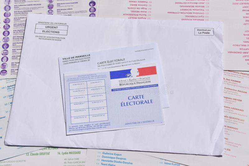 French electoral card. Marseille, France - June 28, 2019 : French electoral card pictured in Marseille on May 22, 2019 royalty free stock photo