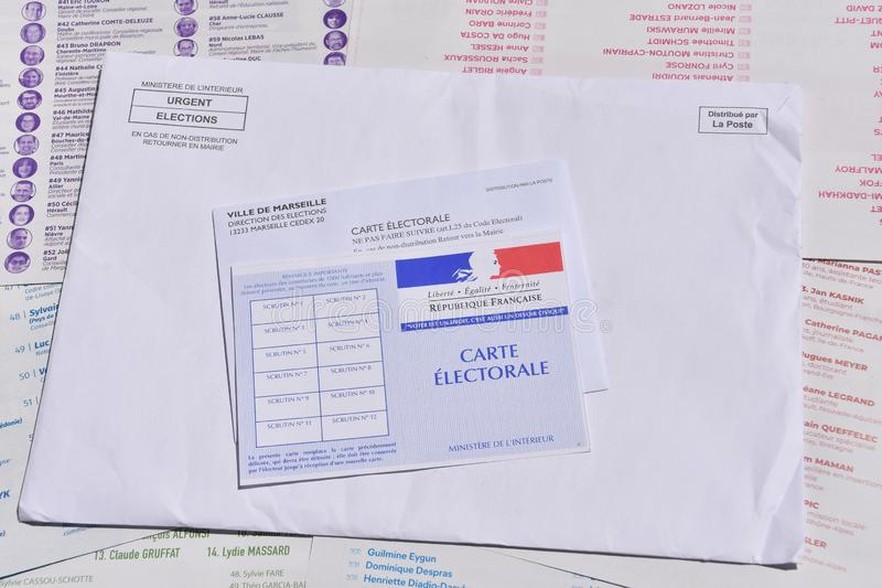 French electoral card. Marseille, France - June 28, 2019 : French electoral card pictured in Marseille on May 22, 2019 royalty free stock photography