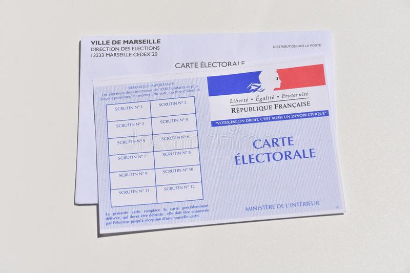 French electoral card. Marseille, France - June 28, 2019 : French electoral card pictured in Marseille on May 22, 2019 royalty free stock images