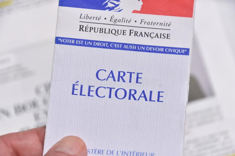 French electoral card. Marseille, France - June 28, 2019 : French electoral card pictured in Marseille on May 22, 2019 stock image