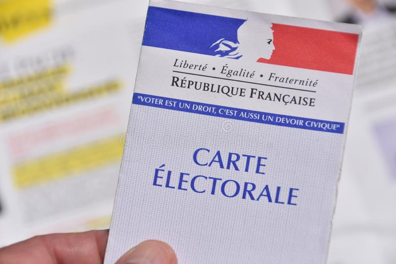 French electoral card. Marseille, France - June 28, 2019 : French electoral card pictured in Marseille on May 22, 2019 stock photos
