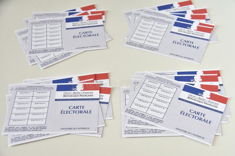French electoral cards. Marseille, France - June 28, 2019 : French electoral cards pictured in Marseille on March 28, 2017 royalty free stock photo