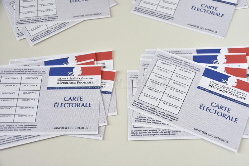 French electoral cards. Marseille, France - June 28, 2019 : French electoral cards pictured in Marseille on March 28, 2017 royalty free stock images