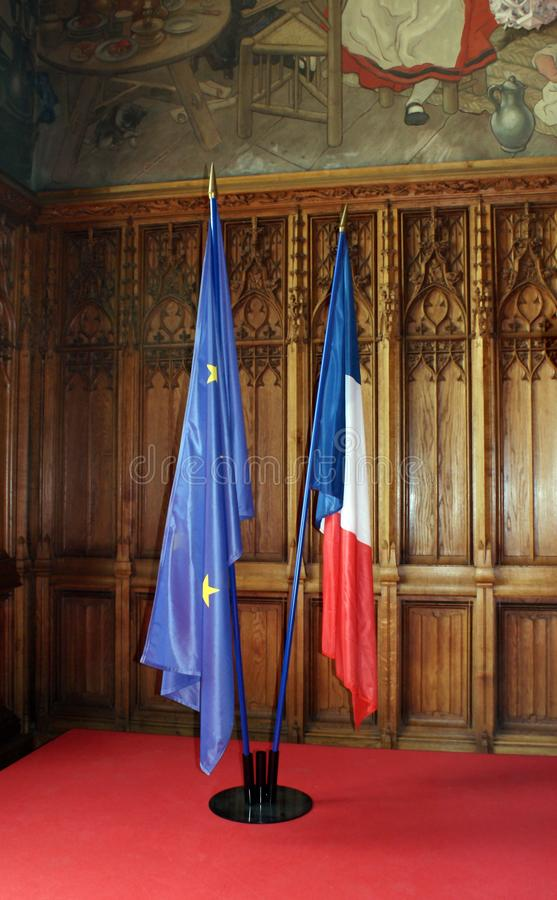 French and european flags. royalty free stock image