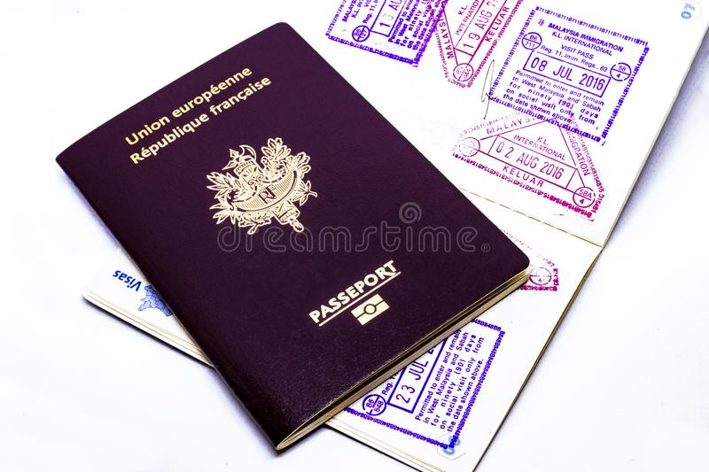 French and european passport close up royalty free stock photo