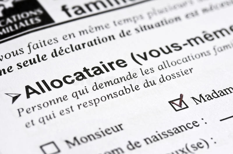 French family allowance form. Close up of a french family allowance form royalty free stock images
