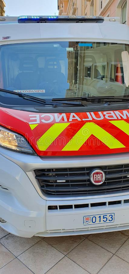 French Fire Department Ambulance In Monte-Carlo Monaco. Monte-Carlo, Monaco - March 28,  French Fire Department Ambulance Close Up View Van Parked In The Street stock photography