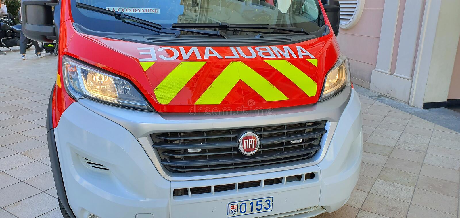 French Fire Department Ambulance In Monte-Carlo Monaco. Monte-Carlo, Monaco - March 28,  French Fire Department Ambulance Front View Van Parked In The Street Of stock photos