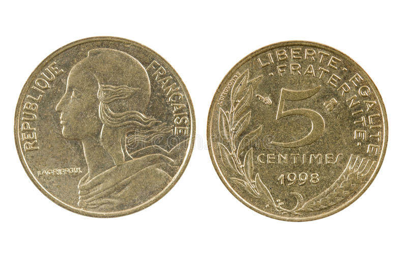 French 1998 five (5) Centimes coin stock photography