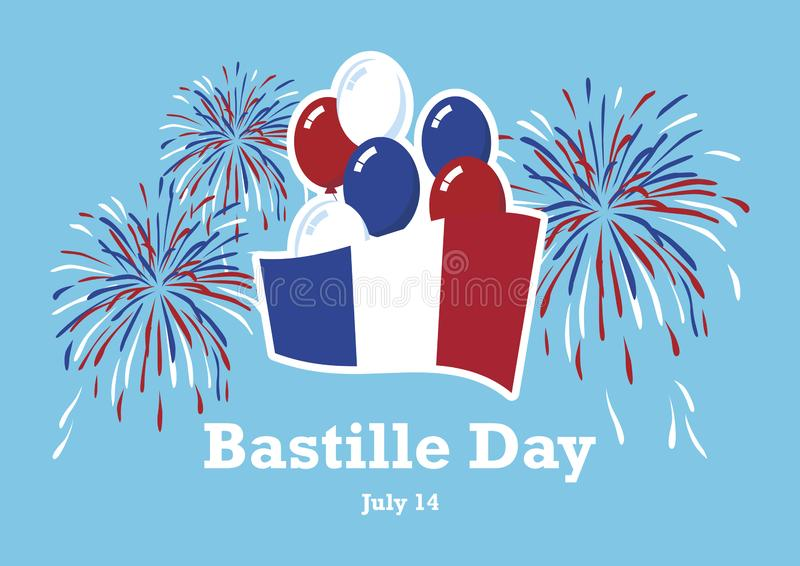 Bastille Day vector. French flag with balloons vector. French flag with fireworks vector. Bastille Day Poster, July 14. French national holiday. Important day royalty free illustration