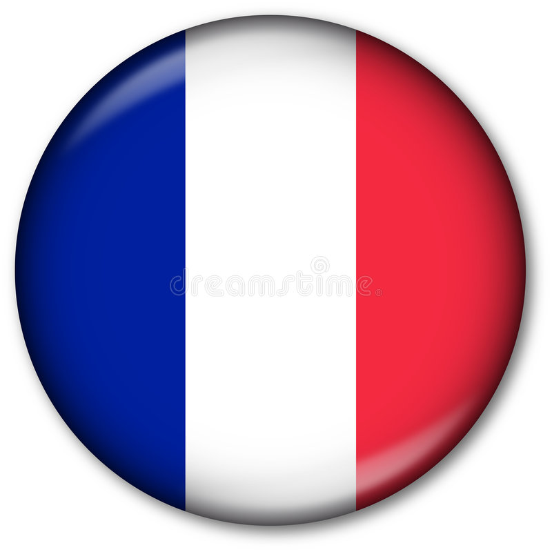 French Flag Button. Glassy Web Button with the French flag