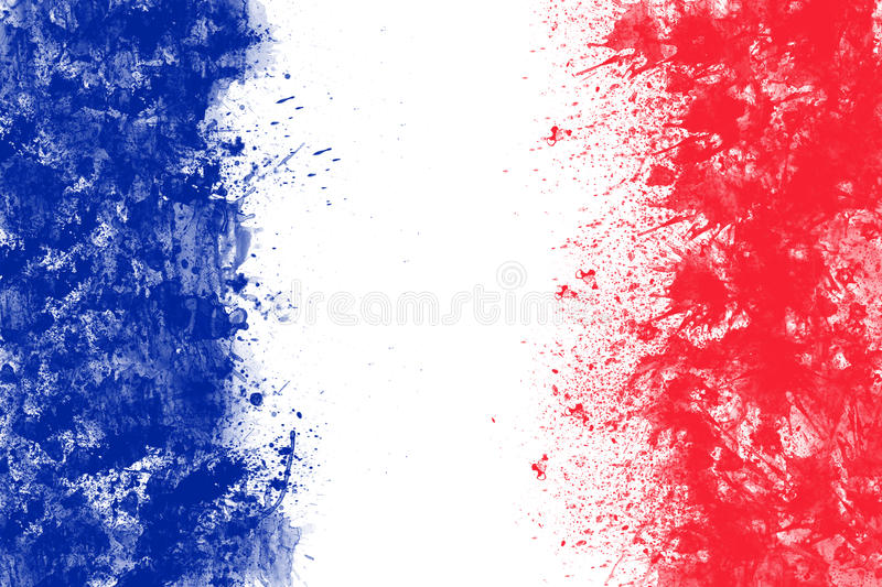 French flag created from splash colours blue white red. stock illustration