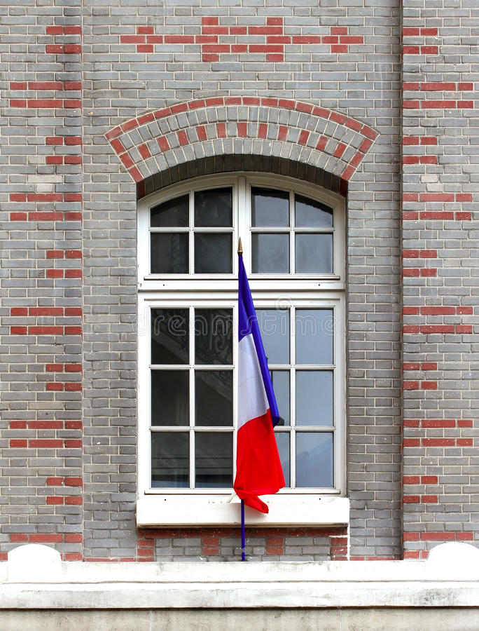 French Flag at Facade royalty free stock image