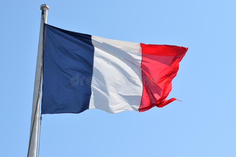 A French flag fluttering in Fort Saint Malo stock images