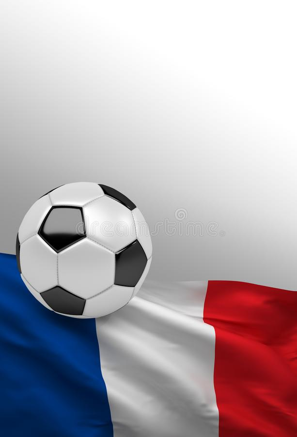 French flag, France soccer ball, football, 3D render vector illustration
