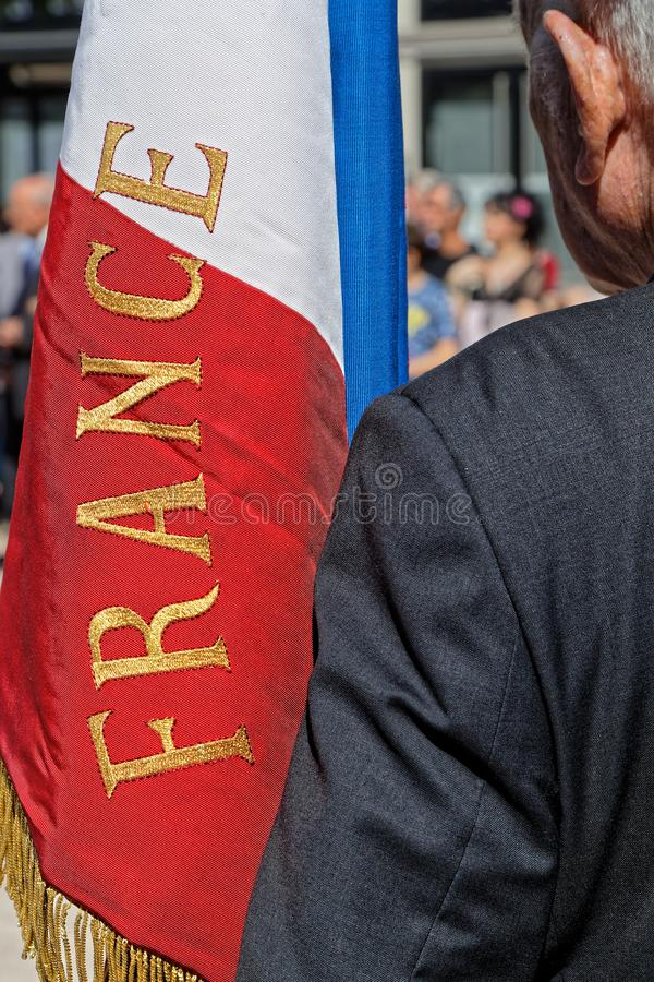 French flag during 75th anniversary of Liberation of Lyon stock photos