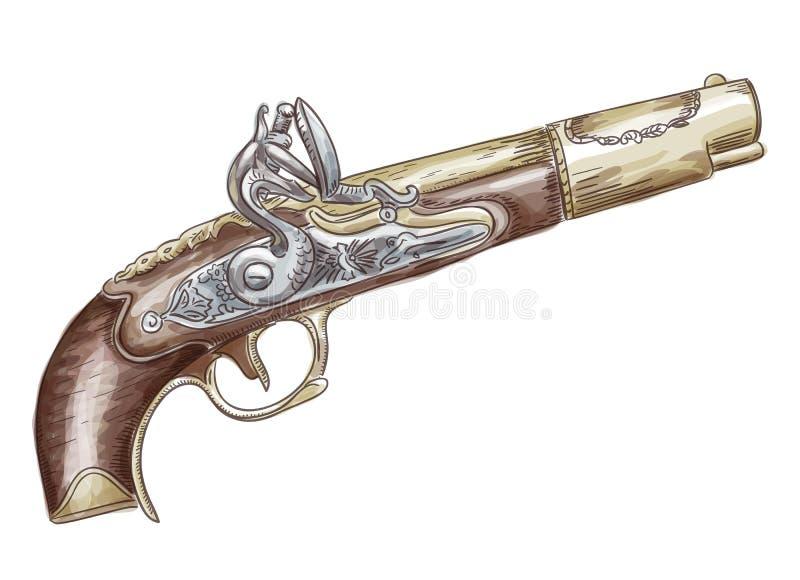 French flintlock antique pistol stock images