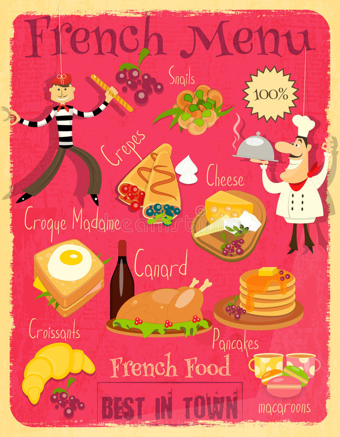 French Food Menu Stock Vector Illustration Of Cartoon