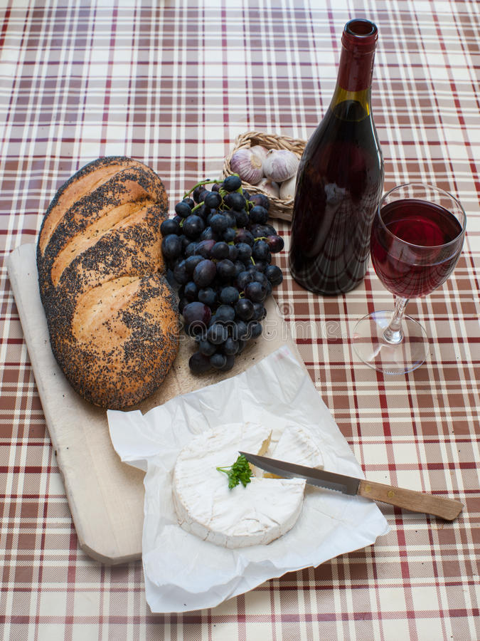 French food snack. Simple french food laid out on a table stock photography