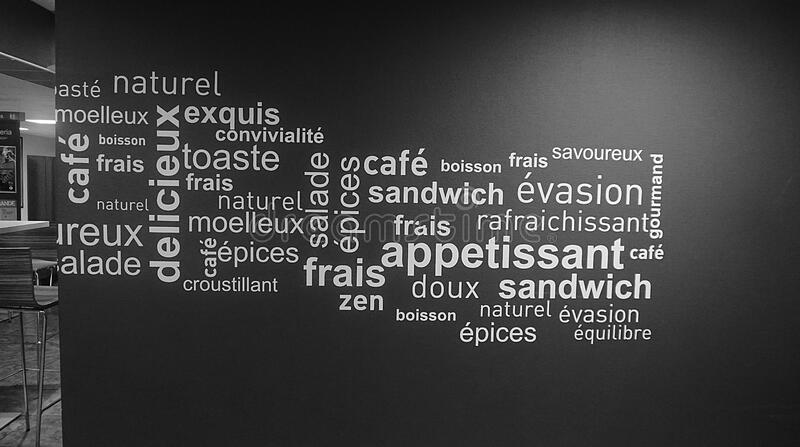 French food word cloud stock image